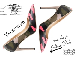 Valentino Rockstud Neon Camo Fatigue Simple Pointed Pumps